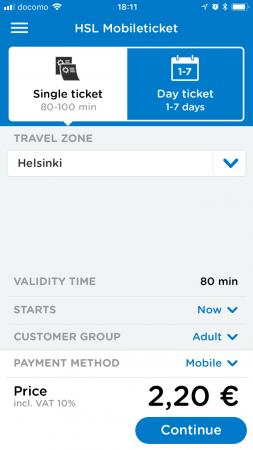 HSL mobileticket